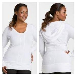 Zella Easy Breezy White Long Sleeve Top Hood 3X
